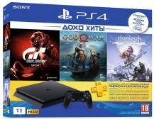 Комплект Playstation 4 Slim, 1tb (CUH-2208B) + Horizon Zero Dawn. Complete Edition + Gran Turismo Sport + God of War + подписка PS Plus на 3 месяца